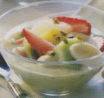 Frutas con mousse de pistachos