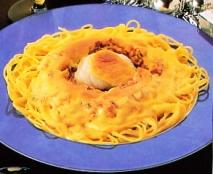 Gratinado de rape con espaguetis