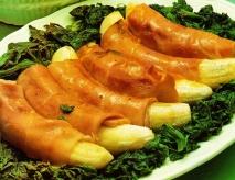 Jamón con plátano y espinacas
