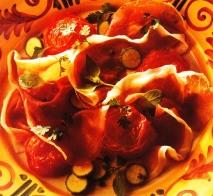 Jamón con tomates asados