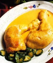 Jamoncitos de pollo con compota de calabacín