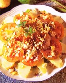 Receta de Láminas de patata con judias verdes y foie