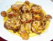 Lomo de cerdo con setas y verduras