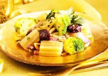 Menestra de cardo y brócoli con morcilla y panceta