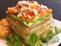 Receta de Milhojas de salmón, aguacate y patata