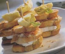 Receta de Montaditos de jamón, queso de cabra  y alcachofas