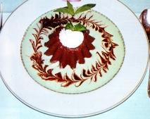 Mousse de chocolate con salsa de menta