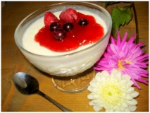 Mousse de yogur con frutos rojos
