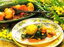 Receta de Nabos especiados con espinacas y tomates