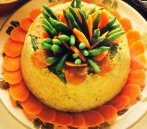 Pastel de judías verdes con salsa de queso