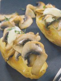 Patatas gratinadas con champiñones