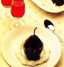 Receta de Peras al chocolate al microondas