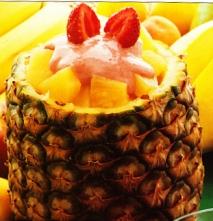 Receta de Piña con helado de nata y salsa de fresas