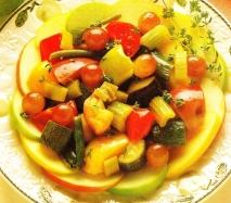 Platillo de verduras y fruta