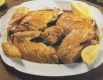 Pollo asado con ajo y limón
