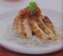 Pollo con mermelada de guindilla y jengibre