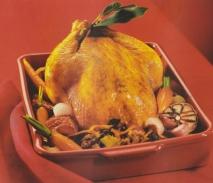 Pollo de corral relleno de setas al horno