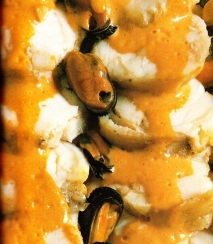 Rape con salsa de cangrejos