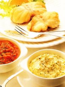 Receta de Rape con salsa tártara y coulis de tomate