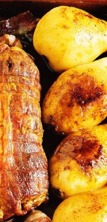 Redondo de cerdo con peras y bacon