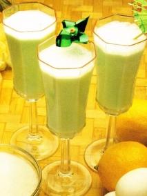 Sabayón verde con nata