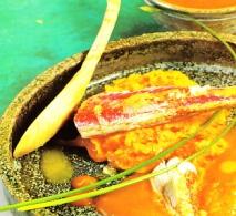 Salmonetes con crema de calabaza y salsa de cítricos