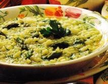 Sopa de arroz y espárragos