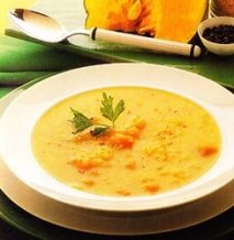 Sopa de calabaza y arroz