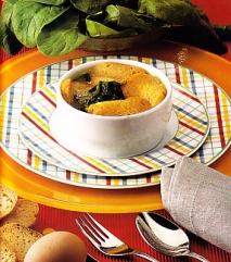 Sopa de pan y espinacas gratinada