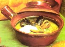 Sopa especiada de mejillones