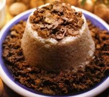 Timbal de arroz con champiñones