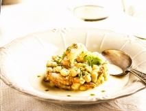 Timbal de pato y langostinos con sopa de chufas