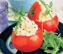 Tomates rellenos con atún y cangrejo