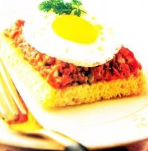 Receta de Tostadita de tártaro de carne con huevos de codorniz