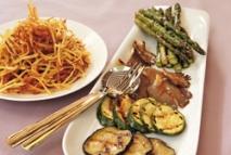 Receta de Verduras a la plancha y patatas paja